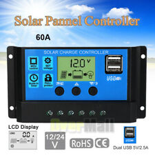 PWM 60A Solar Charge Controller 12V 24V LCD Display Dual USB Solar Panel Charger