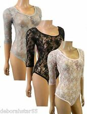 Womens 3/4 Sleeve Scoop Neck Floral Lace Bodysuit Leotard  Body Top Shirt 8-16