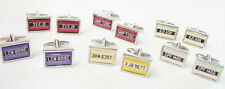 Personalised Car Registration Number Plate Cufflinks : With Coloured Background