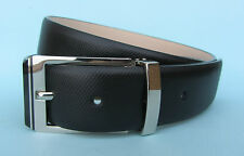 Mens Dress Black Real Leather Belt with Silver Buckle