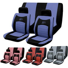 6PC UNIVERSAL FULL CAR SEAT COVER SET RS STYLE GREY BLACK WASHABLE PINK RED BLUE