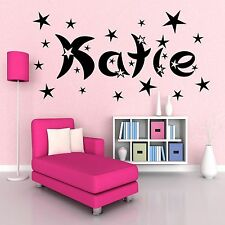 Personalised Name & Stars girls boys room Wall Art Stickers Decal Transfer Mural