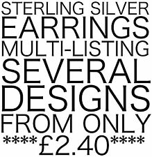 925 STERLING SILVER EARRINGS STUDS AND DROP ASSORTED MULTI LISTING CRYSTAL