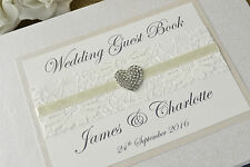 Ivory Personalised Wedding Guest Book - Vintage Lace & Jewel Wedding Guest Book.