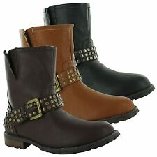 Ladies Womens Combat Army Military Biker Flat Zip Up Worker Ankle Boots Size