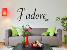 J'adore xxx love quote wall art sticker living room bedroom hallway dining room
