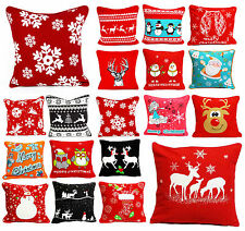 "NEW CHRISTMAS COTTON CUSHION COVERS FESTIVE 18 x 18""  Free UK Post"