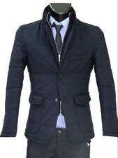 giacca giubbotto uomo slim fit trapunta con toppe lana stretch made in italy new