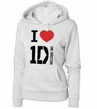 FELPA  1D I LOVE ONE DIRECTION GROUP DONNA BIANCA CON CAPPUCCIO
