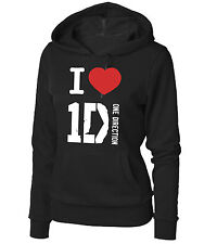 FELPA  NERA 1D I LOVE ONE DIRECTION GROUP RAGAZZINA E DONNA CON CAPPUCCIO