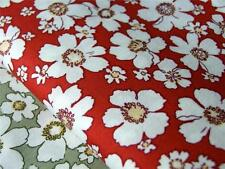 FQ or Meter 100% cotton RED vintage retro flower floral quilting bunting fabric