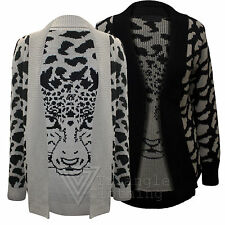 Ladies Womens Leopard Face Cardigan Print Knitted Top Animal Tiger Jumper Warm