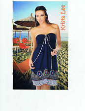 Krista Lee Mosiac Navy Blue Elastic Smocked Top Dress/Sundress Embroidered Beads