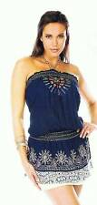 Krista Lee Mosiac Navy Blue Tube Top Tunic Embroidered Beaded Tiered NWT