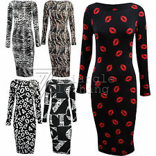 Ladies Women Midi Long Sleeve Calf Length Graphic Dress Love Snake Tiger Bodycon