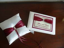 Wedding Guest Book and Ring Cushion with Diamante in Various Colours 1