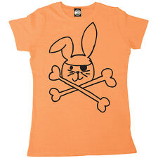 PIRATE BUNNY WOMENS RABBIT & CROSSBONES CUTE PRINTED T-SHIRT