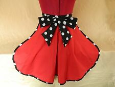 BRAND NEW VINTAGE STYLE HALF APRON / PINNY - RED & BLACK with LARGE BOW