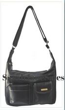 Ladies Soft Leather Look Cross Body Shoulder Handbag 5 Compartments