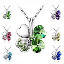 Crystal Lucky Shamrock Silver Plated  Four Leaf Clover Heart Pendant
