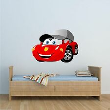 FULL COLOUR CARTOON RACING CAR WALL STICKER BOYS BEDROOM DECAL MURAL TRANSFER