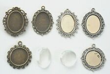 Bronze Silver Cabochon Cameo Settings Charm Clear Glass Dome Tray 25 x 18mm 20mm