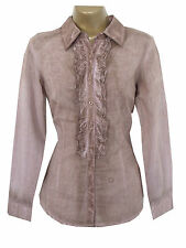 Ladies Brown Shirt Blouse Top Size 10 RRP 29 Euros Ruffle Cotton New Spring