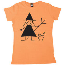 HALLOWEEN CUTE WITCH AND CAT WOMENS PRINTED FANCY DRESS T-SHIRT