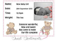 I LOVE MY BEAR GIRL'S NURSERY PRINT - New Baby - Name, Date, Weight & Time - A4
