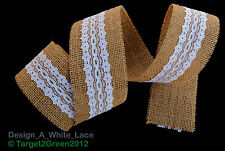 Natural Jute Burlap Hessian Ribbon with Lace Trims Tape Rustic Wedding Floristry
