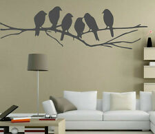 Cute Birds On The Branch Vinyl Wall Stickers. 15cm x 50cm. Many colours. New UK