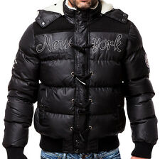 Herren Winter Jacke Steppjacke Daunen-Look Street Wear in Schwarz Gr. S-XXL