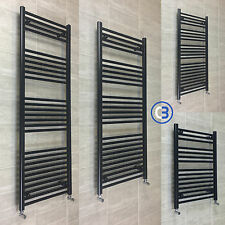 600mm Wide Black Designer Heated Towel Rail Radiator Rad Rack Warmer Straight