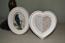Vintage Style Cream Heart Oval Photo Frame Shabby Chic