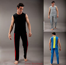MENS SPORTS GYM SLEEVELESS ATHLETIC VEST TOP BOTTOMS FITNESS TRACKSUIT