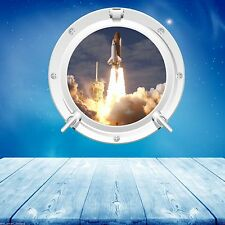 FULL COLOUR SPACE PORTHOLE SHUTTLE ROCKET LAUNCH WALL STICKER DECAL KIDS BEDROOM