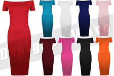 Womens Bodycon Midi Bardot Dress Plain Off The Shoulder Stretch Sexy Party Tunic
