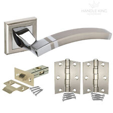 Internal Square Rose Door Handle Pack Bathroom & Latch- Polished / Satin Chrome