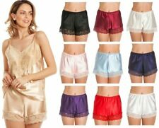 New SATIN FRENCH KNICKERS PURPLE WHITE RED BLACK IVORY NAVY PEACH PINK PALE BLUE