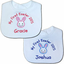 Personalised First/1st Easter 2018 Bunny Baby Bib - Girl/Boy - Great Gift