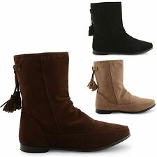 NEW WOMENS LADIES BIKER GIRLS FLAT CHELSEA PIXIE SLOUCH ANKLE BOOTS SHOES SIZE
