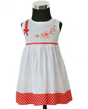 New Baby Girls White and Red Dotted Cotton Party Dress 0-3 M 3-6 M 6-9 M