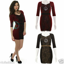 Ladies Mini Dress Black Celeb Floral Lace Bodycon Slimming Panel Party Size 8 14