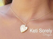 Personalized Heart Locket Hand Engraved Monogram 14K Gold Filled, Silver or 10K