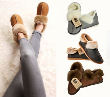 ❤️ Hand crafted Mens Womens Genuine Sheepskin Boot Moccasin Slippers 100% Fur