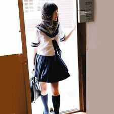 New Japanese School Girl Sailor Uniform Cosplay Costume dress FREE SHIPPING