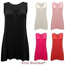 WOMENS LADIES PLAIN RUCHED SLEEVELESS RACER BAGGY FLARED SWING LONG DRESS TOP