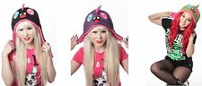 SMILER HAT Cupcake Cult Sale Clearance Ladies Goth Punk Emo Beanies Hats Black
