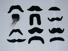 Black Stick on False Moustache 12 Styles Fake Tache Fancy Dress Accessory