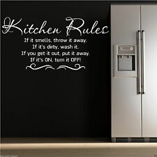 KITCHEN RULES Wall Art Sticker Kitchen Quote Decal Mural Stencil Transfer Tattoo